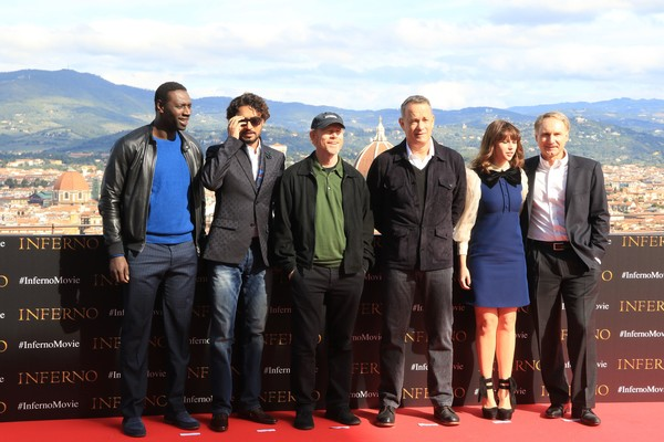 'Inferno' Photocall in Florence [inferno,social group,event,team,tourism,travel,leisure,omar sy,dan brown,felicity jones,tom hanks,ron howard,left,florence,inferno photocall,photocall]