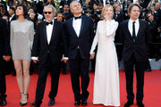 """(L-R)  Charlotte Gainsbourg, Hippolyte Girardot, director Arnaud Desplechin, Alba Rohrwacher and Mathieu Amalric attend the """"Ismael's Ghosts (Les Fantomes d'Ismael)"""" screening and Opening Gala during the 70th annual Cannes Film Festival at Palais des Festivals on May 17, 2017 in Cannes, France."""
