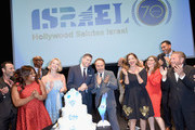 (L-R) Guri Weinberg, Sherri Shepherd, Eric Dickerson, Consul General of Israel, Los Angeles Sam Grundwerg, Yael Grobglas, Billy Crystal, Kelsey Grammer, David Blu, Noa Tishby, Mayim Bialik and Mike Burstyn attend the 70th Anniversary of Israel celebration in Los Angeles on Sunday, June 10, 2018.