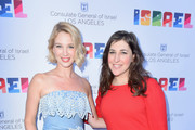Yael Grobglas (L) and Mayim Bialik attend the 70th Anniversary of Israel celebration in Los Angeles on Sunday, June 10, 2018.