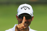 Alvaro Quiros of Spain reacts after a shot on the 11th hole during day one of the Italian Open at Gardagolf CC on May 31, 2018 in Brescia, Italy.