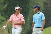Rafa Cabrera-Bello of Spain and Matteo Manassero of Italy share a joke on the 18th hole during Day One of the Italian Open at Gardagolf Country Club  on May 31, 2018 in Brescia, Italy.