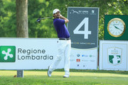 Thomas Aiken of South Africa in action on Day Three of the Italian Open at Gardagolf Country Club on June 2, 2018 in Brescia, Italy.