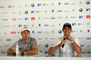 Nino Bertasio and Matteo Manassero of Italy are pictured during a press conference prior to competing in the Pro Am event prior to the start of the Italian Open at Gardagolf Country Club on May 29, 2018 in Brescia, Italy.