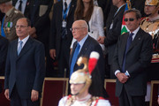 (L-R) President of the Italian Senate Renato Schifani, Italian President Giorgio Napolitano, and President of the Chamber of Depuies Gianfranco Fini attend the military parade to mark the founding of the Italian Republic and the 150th anniversary of Italian unification, in Via dei Fori Imperiali, on June 2, 2011 in Rome, Italy.  The Italian Republic was founded in 1946, after the death of Benito Mussolini. This year 80 foreign delegations from all over the world attended the Italian military parade.