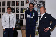 (L-R) Antonio Conte, Gianluigi Buffon and Ermanno Scervino visit Ermanno Scervino Atelier on November 9, 2015 in Florence, Italy.