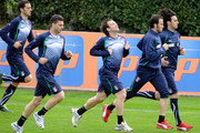 Thiago Motta, Antonio Cassano (R) and Giampaolo Pazzini of Italy during a training session at Coverciano on March 27, 2011 in Florence, Italy.