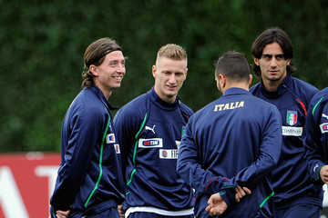 Riccardo Montolivo Ignazio Abate Italy Training Session And Press Conference