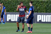 Coach Italy Antonio Conte (L) and Stephan El Shaarawy during Italy Training Session at Coverciano on September 1, 2014 in Florence, Italy.