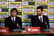 Head coach Antonio Conte and Gianluigi Buffon (R) of Italy during press conference ahead of their EURO 2016 Qualifier against Bulgaria at Vasil Levski National Stadium on March 27, 2015 in Sofia, Bulgaria.