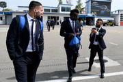 (L-R) Danilo D'Ambrosio, Mario Balotelli and Lorenzo Insigne of Italy leave for Florence Airport on May 29, 2018 in Florence, Italy.