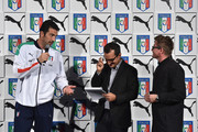 Gianluigi Buffon, Nicola Savino and Torsten Hochstetter speak on stage during the launch of new Puma home kit at Palazzo Vecchio on November 9, 2015 in Florence, Italy.