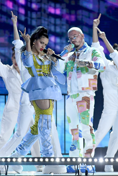 2019 Billboard Latin Music Awards - Show [performance,entertainment,performing arts,stage,event,music artist,public event,dancer,performance art,song,rosalia,j balvin,billboard latin music awards,las vegas,nevada,mandalay bay events center,l,show]
