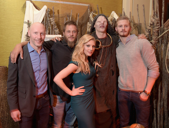 (L-R) Executive Vice President and General Manager of HISTORY and H2, Dirk Hoogstra, actors Travis Fimmel, Katheryn Winnick, The Seer and actor Alexander Ludwig attend the JAN 2015 TCA History Vikings Party on January 9, 2015 in Pasadena, California.