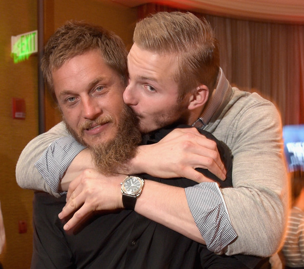 Actors Travis Fimmel (L) and Alexander Ludwig attend the JAN 2015 TCA History Vikings Party on January 9, 2015 in Pasadena, California.