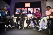 JBL partner Ja Morant (R) takes the stage with fellow prospect Jarrett Culver (2nd R),  JBL Ambassador Andre Drummond and JBL partner Kia Nurse at JBL Full-Court Press, an exclusive panel discussion with professional basketball players and top pick draftees moderated by Jay Williams (L) of The Players' Tribune. The event was held at the HARMAN Store on June 18, 2019 in New York City.