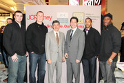 """(L-R) New York Pro Athletes Bear Pascoe, Kevin Boss, CEO of Joseph Abboud Tony Sapienza, President of Joseph Abboud Kenton Selvey, New York Pro Athletes Terrell Thomas and Deon Grant pose during JOE Joseph Abboud, JCPenney, and IAVA celebrate """"Welcome Home Joe"""" with """"Combat to Career"""" an event to benefit veterans at JCPenney on December 7, 2010 in New York City."""
