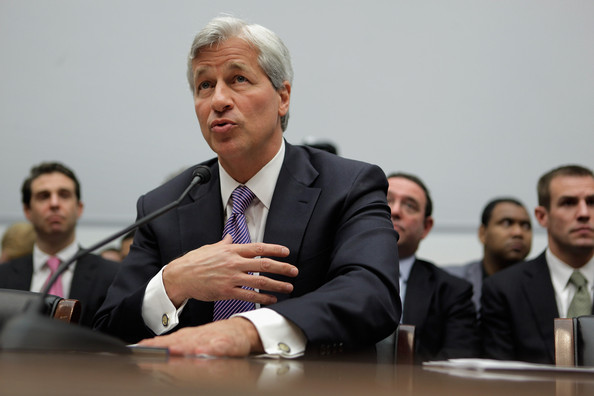 Jamie Dimon testifying at government hearing