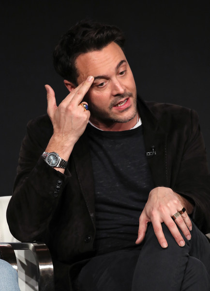 2020 Winter TCA Tour - Day 12 [spectrum originals,manhunt: deadly games,cheek,chin,forehead,arm,hand,finger,gesture,photography,sign language,thumb,jack huston,stage,pasadena,california,lionsgate television,winter tca,segment,winter tca tour,jack huston,fargo,photograph,actor,image,television,livingly media,shannan click,cat deeley]
