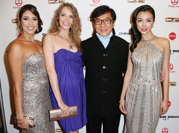 'Chinese Zodiac' Premieres in Century City [chinese zodiac,dress,clothing,shoulder,cocktail dress,fashion,event,carpet,joint,formal wear,red carpet,arrivals,wanda,jackie chan,actress,actresses,l-r,amc,premiere,premiere]