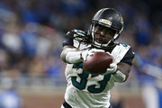 Chris Ivory #33 of the Jacksonville Jaguars makes a catch against the Detroit Lions during first half action at Ford Field on November 20, 2016 in Detroit, Michigan.