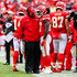 Andy Reid Photos - Head coach Andy Reid of the Kansas City Chiefs congratulates Kareem Hunt #27 after a fourth quarter rushing touchdown during the fourth quarter of the game against the Jacksonville Jaguars at Arrowhead Stadium on October 7, 2018 in Kansas City, Missouri. - Jacksonville Jaguars vs. Kansas City Chiefs