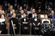 Director Zhang Yimou and Kai Zheng sit during the Ying (Shadow) and 2018 Jaeger-LeCoultre Glory To The Filmaker Award ceremony during the 75th Venice International Film Festival  at Sala Grande on September 6, 2018 in Venice, Italy.