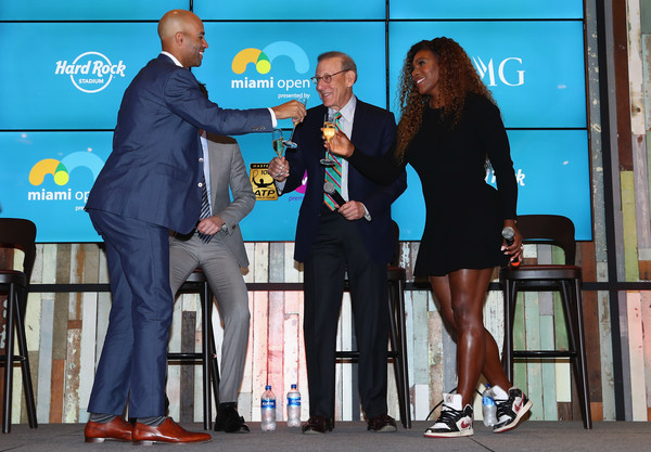 Miami Open 2018 - Day 1 [event,award,employment,stage equipment,james blake,mark sharpiro,tournament director,owner,stephen ross,miami open,begining,champagne toast,home,wme]