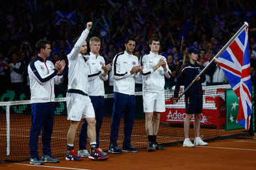 James Ward Leon Smith Belgium v Great Britain: Davis Cup Final 2015 - Day Two