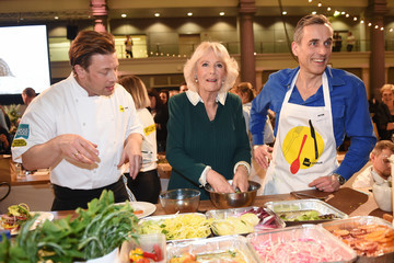 Jamie Oliver Camilla, Duchess of Cornwall Joins Jamie Oliver tor the CEO Cook Off