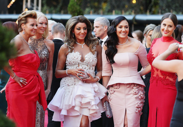 2015 Logie Awards - Arrivals [the real housewives,photograph,dress,red,event,pink,lady,gown,bridesmaid,shoulder,prom,arrivals,gina liano,lydia schiavello,janet roach,logie awards,melbourne,australia,crown palladium,57th annual logie awards]
