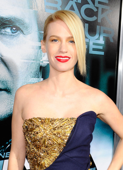 "January Jones Actress January Jones arrives at Warner Bros. Los Angeles Premiere of ""Unknown"" held at Regency Village Theatre on February 16, 2011 in Westwood, California."