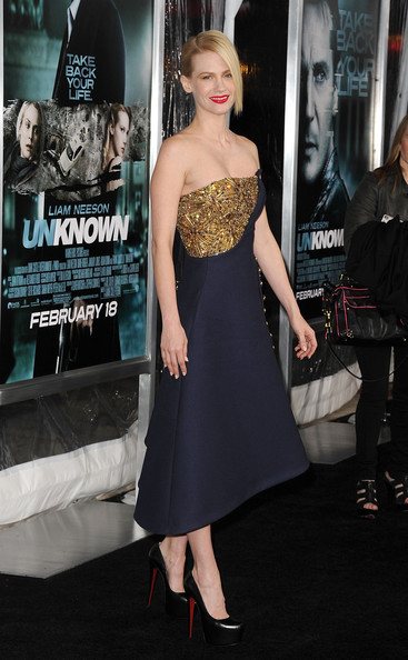 """January Jones Actress January Jones arrives at the Los Angeles premiere of """"Unknown"""" at the Mann Village Theater on February 16, 2011 in Westwood, California."""