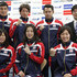 Kosuke Kitajima Aya Terakawa Photos - (Front L-R) Natsumi Hoshi, Aya Terakawa and Satomi Suzuki, (Back L-R) Takeshi Matsuda, Ryosuke Irie, Kosuke Kitajima and head coach Norimasa Hirai pose during a press conference to announce the Japan swimming team for the London 2012 Olympic Games at the Ajinomoto National Training Center on April 9, 2012 in Tokyo, Japan. - Japan Olympic Swimming Team Announcement