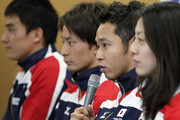 Kosuke Kitajima (2nd R) speaks with Takeshi Matsuda (L), Ryosuke Irie (2nd L) and Aya Terakawa during a press conference to announce the Japan swimming team for the London 2012 Olympic Games at the Ajinomoto National Training Center on April 9, 2012 in Tokyo, Japan.