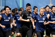 Japan players warm up during a training session at FC Rubin Kazan training ground on June 30, 2018 in Kazan, Russia.