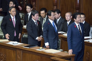 (L-R) Japan's Prime Minister Shinzo, Deputy Prime Minister and Finance Minister Taro Aso, Foreign Minister Toshimitsu Motegi and Chief Cabinet Secretary Yoshihide Suga attend a plenary session at the lower house of the parliament on October 4, 2019 in Tokyo, Japan. The 200th extraordinary diet session will be held over 67 days through to December 9.