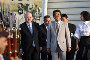 Japanese Prime Minister Shinzo Abe and wife Akie Abe arrive at Marka international airport on April 30, 2018 in Amman, Jordan. Abe is on a Middle East tour visiting the UAE, Jordan, Israel and the Palestinian territories.