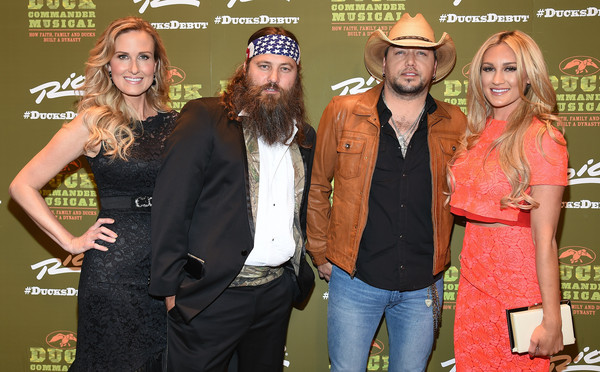'Duck Commander Musical' Premiere at the Rio in Las Vegas [duck commander musical premiere,duck dynasty,event,premiere,facial hair,carpet,korie robertson,jason aldean,willie robertson,brittany kerr,television personalities,l-r,the rio in las vegas,premiere]
