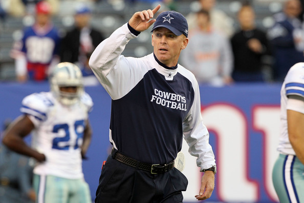 Jason Garrett Head coach Jason Garrett of the Dallas Cowboys works with his team as they warm up prior to playing against the New York Giants on November 14, 2010 at the New Meadowlands Stadium in East Rutherford, New Jersey.