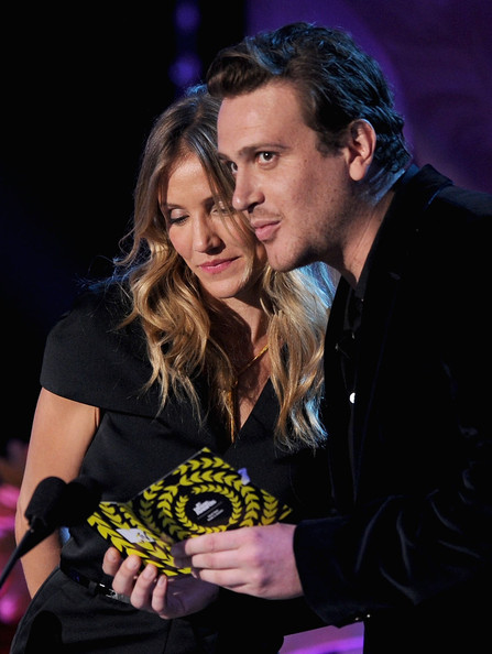 Jason Segel Actors Cameron Diaz (L) and Jason Segel speak onstage during the 2011 MTV Movie Awards at Universal Studios' Gibson Amphitheatre on June 5, 2011 in Universal City, California.