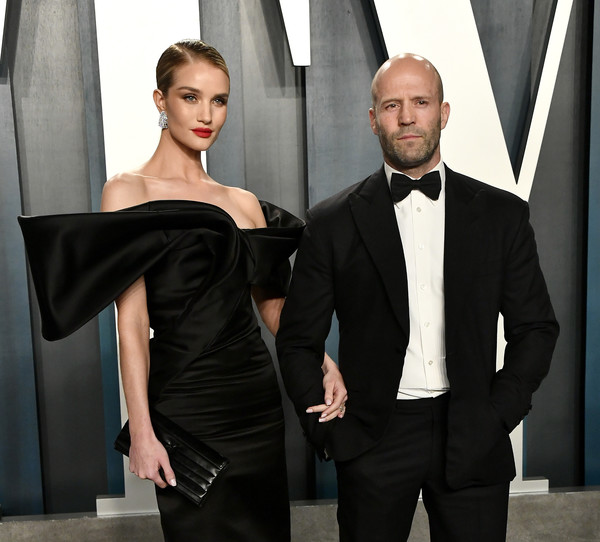 2020 Vanity Fair Oscar Party Hosted By Radhika Jones - Arrivals [suit,clothing,formal wear,shoulder,tuxedo,fashion,dress,beauty,haute couture,model,radhika jones - arrivals,radhika jones,rosie huntington-whiteley,jason statham,beverly hills,california,wallis annenberg center for the performing arts,oscar party,vanity fair,rosie huntington-whiteley,jason statham,vanity fair,oscar party,image,photograph,celebrity,getty images,fashion]