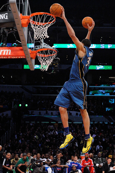 Javale Mcgee JaVale McGee #34 of the Washington Wizards dunks two balls on the same jump in the first round of the Sprite Slam Dunk Contest apart of NBA All-Star Saturday Night at Staples Center on February 19, 2011 in Los Angeles, California. NOTE TO USER: User expressly acknowledges and agrees that, by downloading and or using this photograph, User is consenting to the terms and conditions of the Getty Images License Agreement.