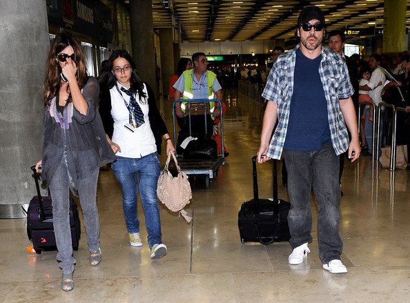Javier Bardem And Penelope Cruz Arriving At Barajas Airport