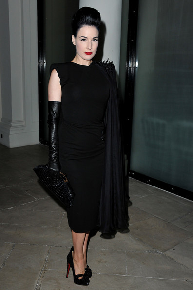 Dita Von Teese attends the Jean Paul Gaultier Ready to Wear Spring/Summer 2011 show during Paris Fashion Week on October 2, 2010 in Paris, France.