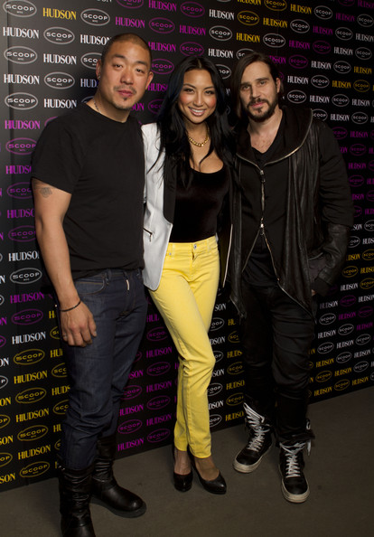 Jeannie Mai (L-R) Peter Kim, Jeannie Mai and Ben Taverniti attend A Phosphorescent Invasion by Hudson Jeans at Scoop NYC on February 10, 2012 in New York City.