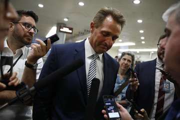 Jeff Flake Senate Lawmakers Speak To The Media After Their Weekly Policy Luncheons
