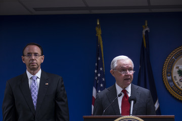 Jeff Sessions AG Sessions And DAG Rosenstein Make Announcement On Reducing Transnational Crime