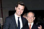 Actors Andrew Rannells (L) and Joel Grey attend the Jeffrey Fashion Cares 13th Annual Fashion Fundraiser at the Intrepid Sea-Air-Space Museum on April 4, 2016 in New York City.