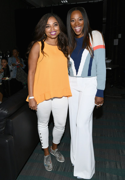 2018 BET Experience - Genius Talks Sponsored By AT&T [white,fashion,clothing,fashion design,event,footwear,outerwear,fashion show,sportswear,long hair,jemele hill,yvonne orji,experience,los angeles,california,bet,at t,talks,genius talks,bet experience]